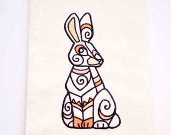 Bunny Tea Towel | Embroidered Kitchen Towel | Embroidered Towel | Easter Tea Towel | Embroidered Tea Towel | Easter Hand Towel