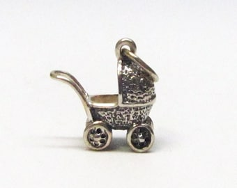 BABY CARRIAGE, Charm, Baby Shower Gift, Silver Charm, Stroller, New Mom Gift, Baby Shower, New Baby Gift, Sterling Silver, Necklace, Pendant