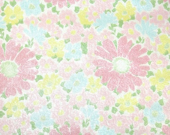 Retro Wallpaper by the Yard 70s Vintage Wallpaper - 1970s Pink Daisies and Pastel Pink Yellow and Blue Flowers