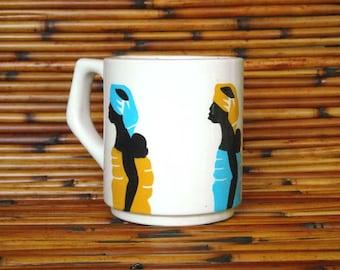 White Earthenware Ceramic Hand Made Lady and Baby Mug