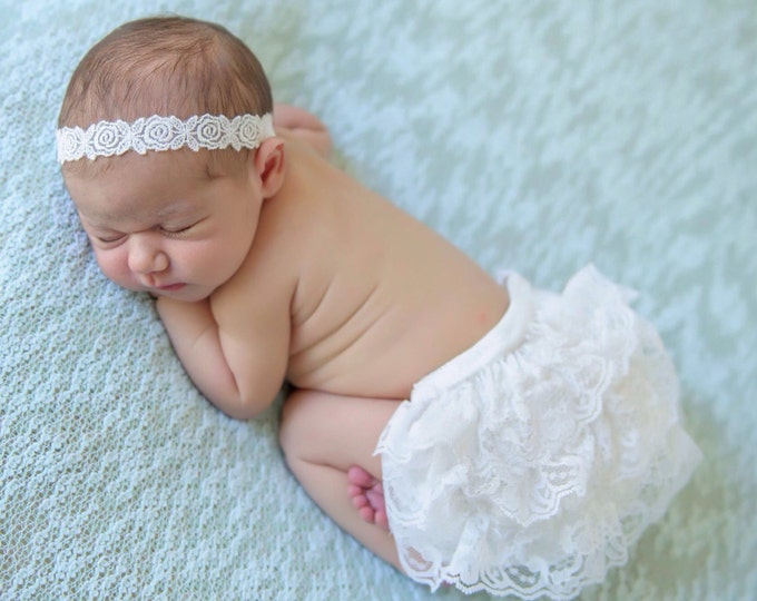 Newborn White Lace Bloomers With Satin Ribbon Bow & Embroidered Flower Headband, newborn photos, by Lil Miss Sweet Pea Boutique, foto bebe