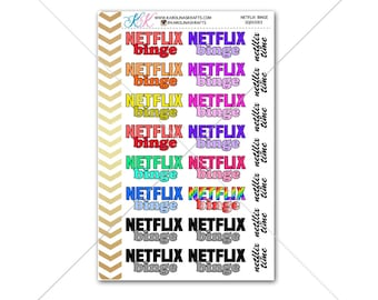 Netflix Binge Stickers for planner, calendar! Functional planner stickers movie sticker functional sticker binge sticker #SQ00083