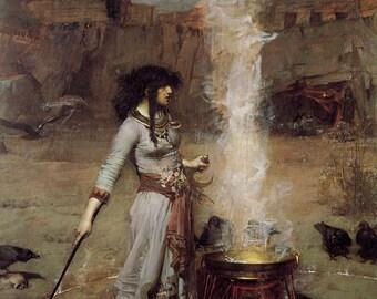 John William Waterhouse: Magic Circle. Fine Art Print/Poster (00834)