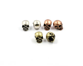 2 Pcs Skull Beads for Use with 550 Paracord - 2mm Hole - 8*11mm
