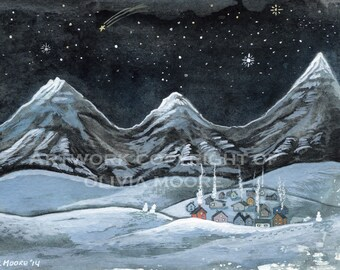 "Original Watercolor Painting - Winter Landscape Mountain Wall Art - Christmas Village Home Decor - 5"" x 7"""