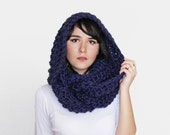 Infinity Scarf  - Oversized Circle Scarf - Huge Winter Scarf in Navy | The Hyperion Scarf |