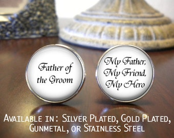 SALE! Father of the Groom Cufflinks - Wedding Jewelry - Personalized Cufflinks - Father of the Groom Gift- Cyber Monday