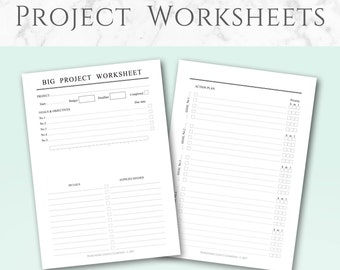 Printable Project Worksheets, Minimalist design | A5 & Half-Letter | Project Worksheets, Master List and Overview