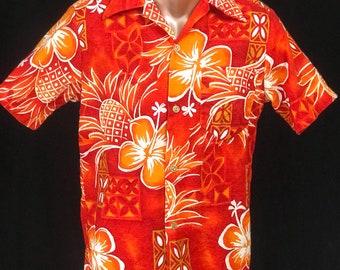 Vintage Hawaiian Tiki Barkcloth Shirt