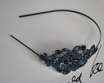 Charcoal Beaded Headband