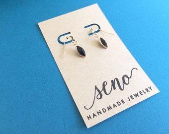 Swarovski channel stones earrings, black, gold filled hooks, plastic hooks available.