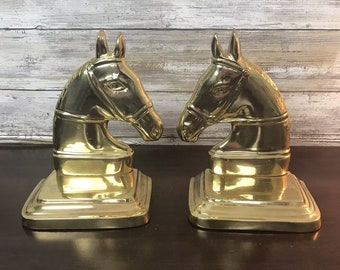 Pair of Vintage Horse Head Bookends Brass Made in India Heavy Equestrian Horses
