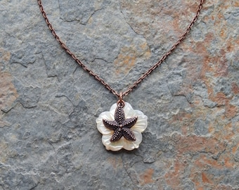Starfish Necklace - hand carved seashell flower necklace - mermaid necklace - beach wedding necklace - boho bridal - copper starfish