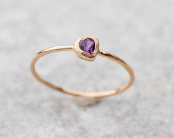 Purple Amethyst ring, February birthstone, Solitaire ring, Gemstone ring, Stacking ring, Dainty ring, 14k gold ring, Gift for her