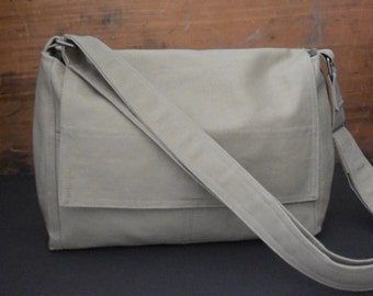 Khaki Messenger Bag - Canvas Messenger Bag - School Bag - Commuter Bag