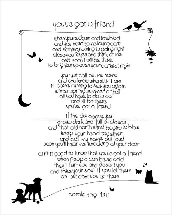 Youve got a friend lyrics i love art print song words by carole king ode to friendship wall art for your bestie lover a perfect gift lyrics i love art print song words stopboris Gallery