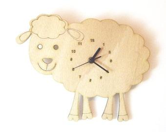 """Wooden wall clock - """"Baby Sheep"""""""