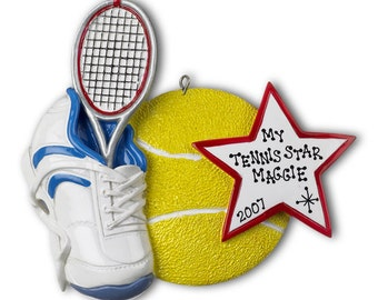 Personalized Sports Christmas Ornaments- Tennis,l- Great Gift for Coaches, Boys and Girls