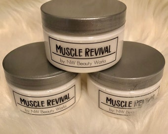 Muscle Revival Rub | For sore muscles, cramps, body aches, & joint pain! | Warming and Relaxing | NATURAL way to relieve muscles! | 4 OZ