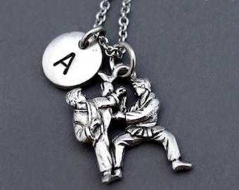 Karate necklace, Karate fighters, Black belt, Karate charm, Karate teacher, Martial arts charm, initial necklace, personalized, monogram