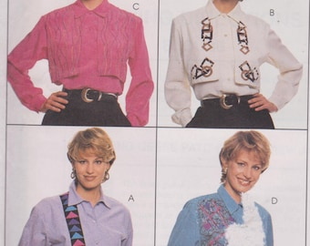 "1990's Womens Sewing Pattern Blouse Top Button Down Long Sleeve Overlay Collar Size 8-12 Bust 31.5-34"" McCall's 7803"