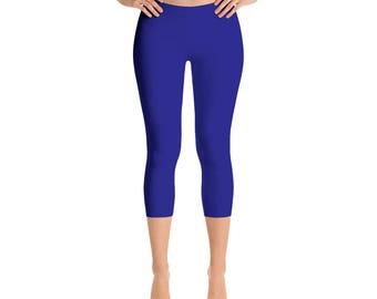Capris Navy Blue Yoga Pants, Yoga Leggings for Women, Mid Rise Waist Workout Pants