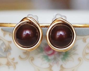 Maroon Earrings , Bridesmaid Earrings , Maroon Studs , Gold Wire Wrapped Post Earrings