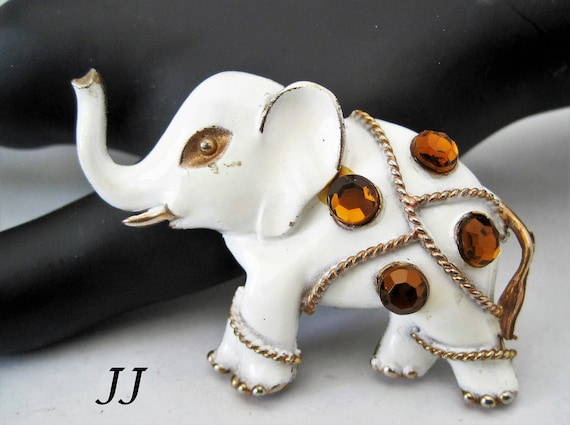JJ Elephant Pin, White Enamel Elephant,  Signed Brooch Topaz Crystals, Republican Brooch