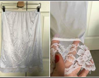 Vintage Petticoat Junction White Half Slip with Lacy Trim - Size Medium