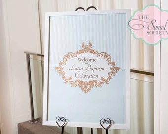 ORNATE BOY BAPTISM Printable 23x33 Welcome Sign - Blue and Brown