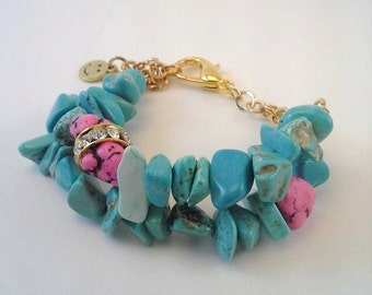 Faux Turquoise Bracelet - Turquoise, Pink and Gold