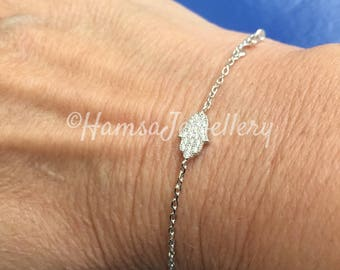 SALE, Delicate Sterling Silver Hamsa Bracelet, Jewelry Gift For Her, Gift for Mom, Gift for Sister, Gift for Girlfriend, Gift for Wife,