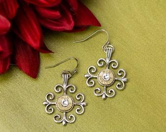 Bullet Casing Jewelry - Scroll Cross Dangle Bullet Earrings (9mm) (Nickel Free)