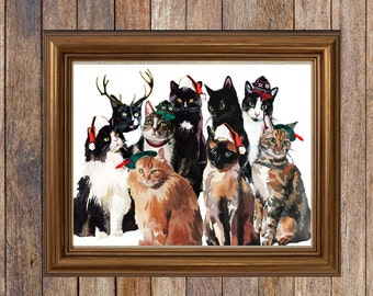Watercolor Holiday Cats Cat Lovers Happy Holidays Merry Christmas Cats with Hats Custom Instant Download Printables Digital Downloads