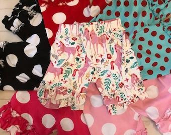 Toddler girls ruffled shorts, girls polka dot  ruffled shorts, ruffled bottom short,black, red,pink,hotpink,aqua,ready to ship