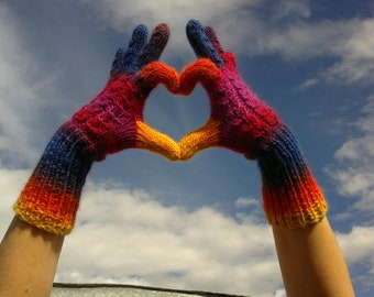 Rainbow Multicolor Wool Gloves. Winter Handknitted Gloves. Handmade Women Accessories. CIJ. Gift For Her designed by dodofit on Etsy