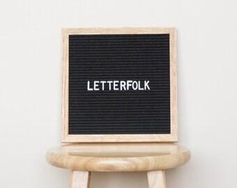 """10""""x10"""" Letter board w/ 290-characters — Black felt, light oak wood frame"""