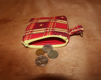 Red and yellow flowered small zippered coin pouch/change purse/bridesmaid/teacher gift
