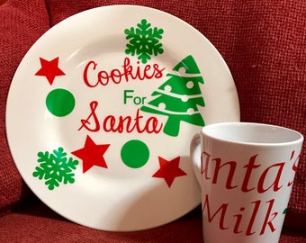 Cookies for santa plate & cup