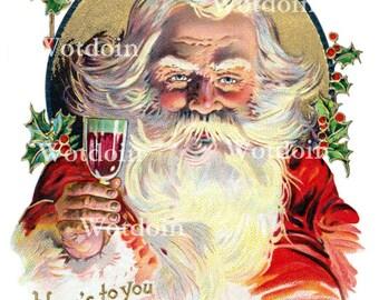 Santa Wine Drinking Christmas Party Digital Postcard Instant Download Printable Image Transfer