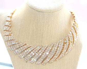 BRIDAL Necklace, Crystal Gold Collar Necklace, Statement Necklace, Prom Jewelry, Wedding Jewelry