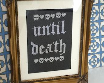 Until Death Gothic Wedding Instant Download Cross Stitch PDF Pattern Chart