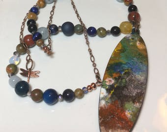 Tiny Paintings Fall Colors Necklace