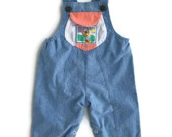 Vintage baby clothes girls baseball overalls 1990s teddy bear denim, 9-12 months