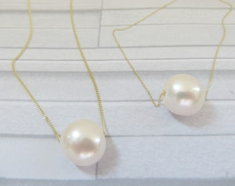 Single pearl necklace, Single pearl on 9ct chain. Baroque pearl necklace, Single baroque pearl, Floating pearl necklace, 9ct pearl necklace