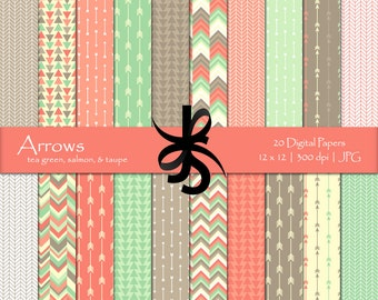 Digital Scrapbook Papers-Arrows-Tea Green-Salmon-Taupe-Arrow Papers-Geometric-Tribal-Aztec-Triangles-Printable-Instant Download Clip Art