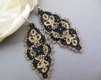 Black-gold handmade lace, tatted lace jewelry, black gold earrings, tatted drop earring, tatting jewelry, filigree lace, gift for her