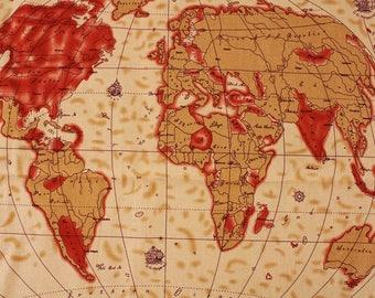 world map fabric etsy