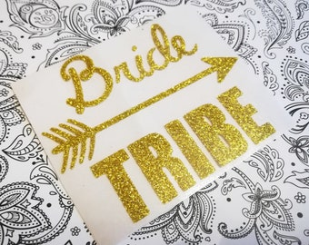 Glitter Bride Tribe Iron On, Bridal Shower Party, Heat Transfer Vinyl, Gold Glitter Decal  TShirt, DIY Bride Tribe Tee, Bachelorette Party