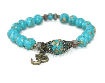 Spiritual Jewelry, Turquoise Om Bracelet - Stretch Beaded Bracelet with Turquoise Mosaic Stone & Bronze Om Symbol